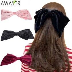 Velvet Barrettes Big Bow Solid Color Hair Clip Girls Hairpin Korean Ponytail Clips Hairgrip For Women Hair Accessories Headdress