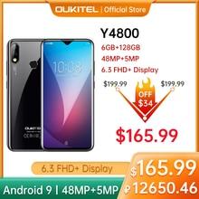 "OUKITEL 4G Y4800 6G + 128G Smartphone 6.3 ""FHD 48MP + 16MP 4000mAh Android 9,0 octa Core Helio P60 Smart Telefon"