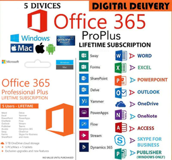 Office 365 account Online Delivery -1TB OneDrive- Works on 5 devices Limited offer LIFETIME ONLINE DELIVERY