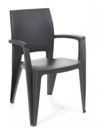 Armchair ELEN, Stackable, Polypropylene Anthracite