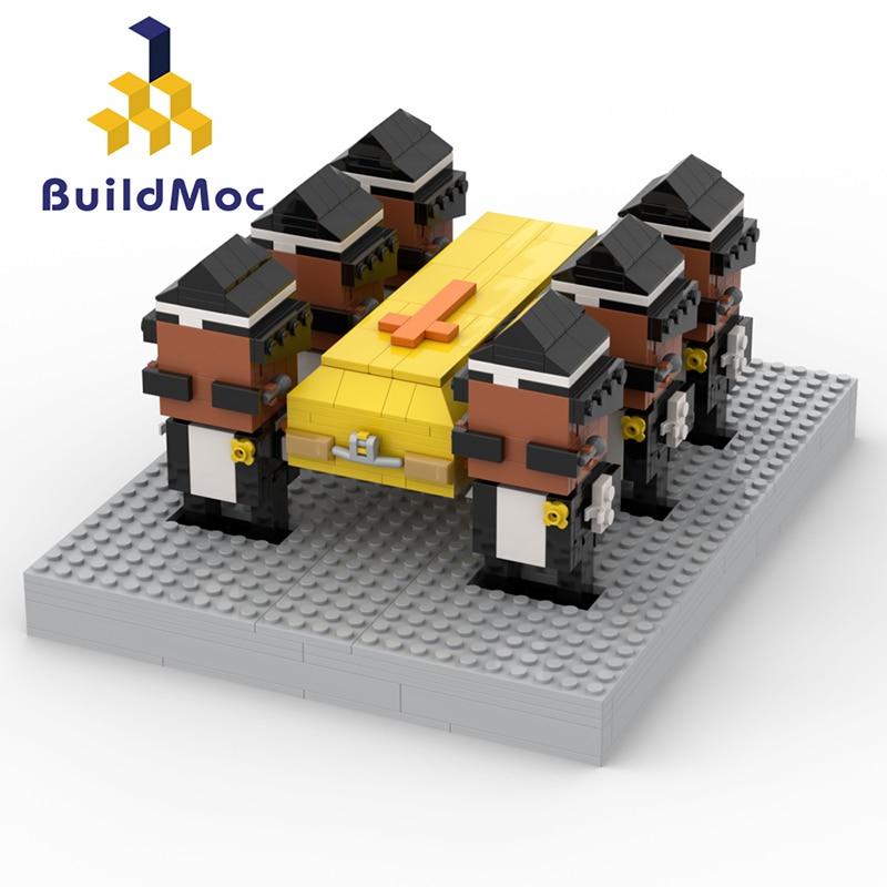 BuildMOC Ghana Funeral Dance On Funerals Team Men Dance2020 Funny Meme Dance With Casket  Building Blocks Toys For Kid