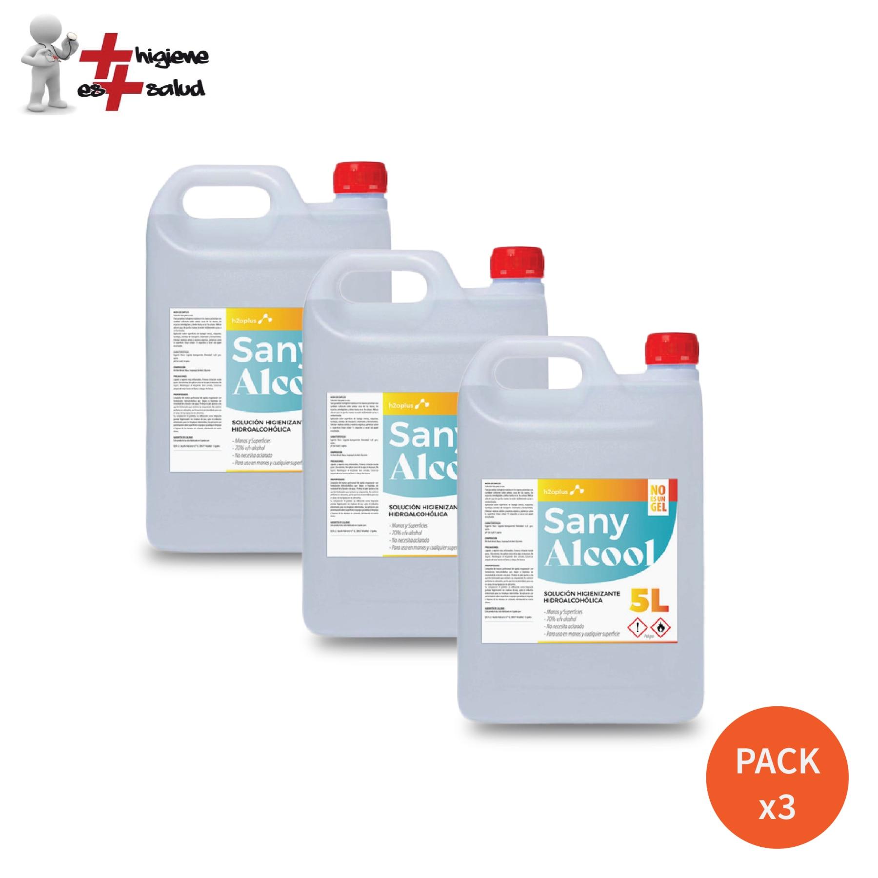 Sany Alcool - 3 X Liquid Sanitizing Hydroalcoholic Antiseptic 5 Liters