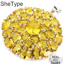 36x30mm 6.1g Deluxe Golden Citrine Wedding Ladies Guaranteed Real 925 Solid Sterling Silver Pendant