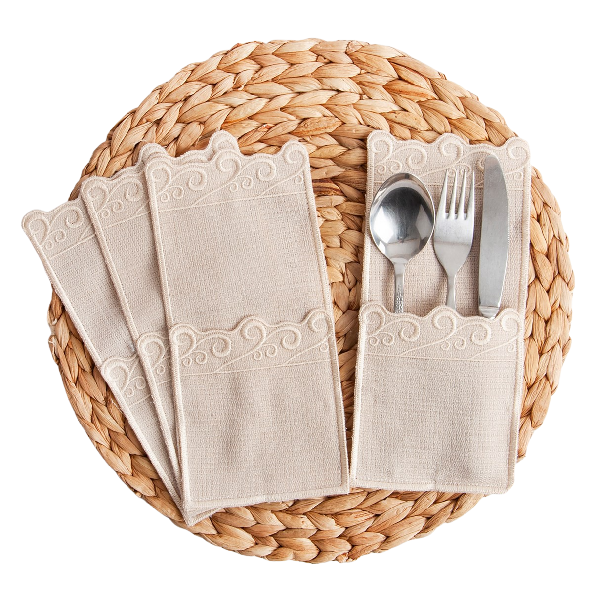 Set of 12 Embroidered Stain Resistant Cutlery Linen Fabric Cloth Table Napkin Dishes Napkins Table Decorative Wedding Party Gift