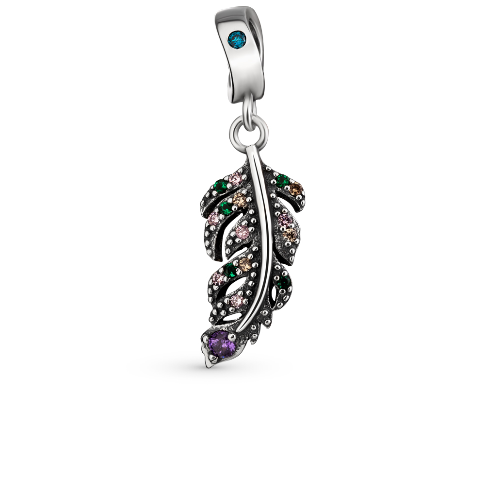 Silver Pendant-charm With Cubic Zirconia Sunlight Sample 925