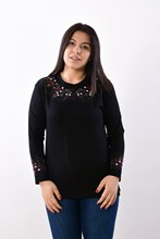 Women's Large Size Fronting Embroidered Black Blouse 2003