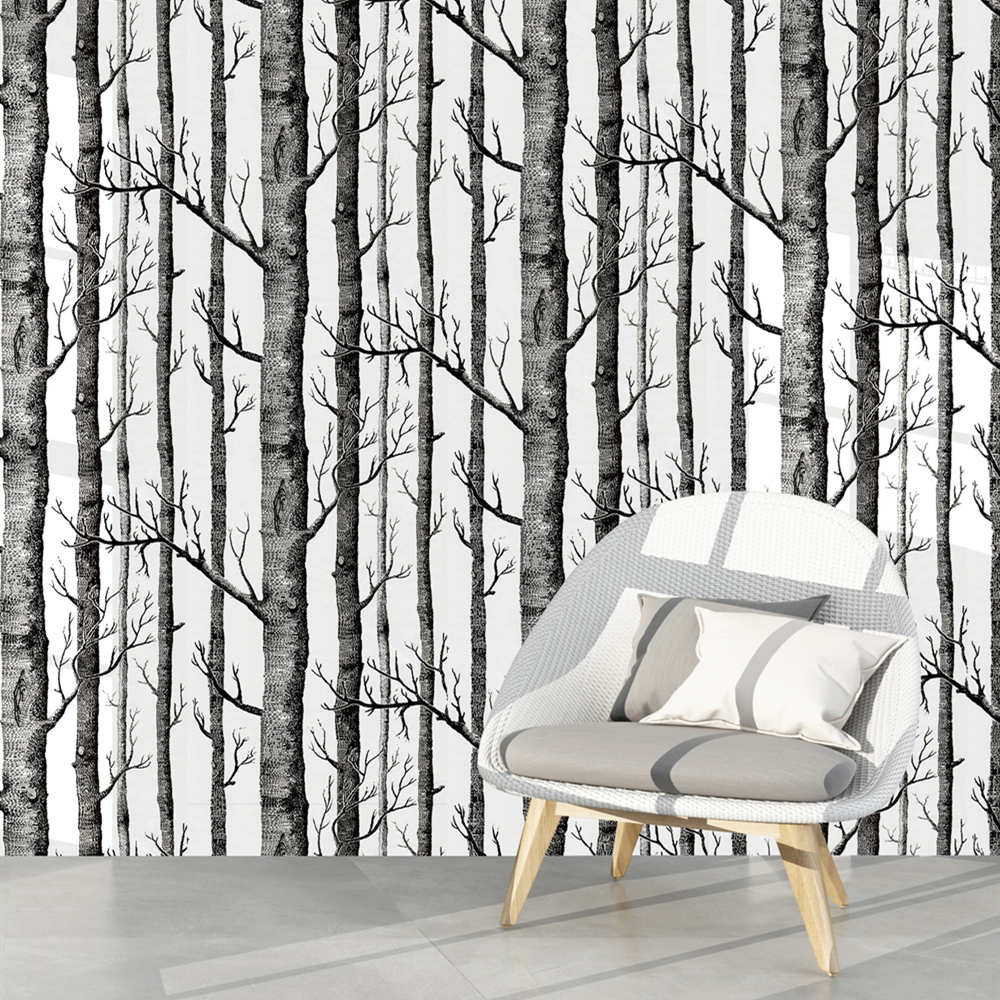 Birch Tree Peel And Stick Wallpaper Self Adhesive Black And White Wood Stick Wallpaper For Study Background Wall Home Decortion
