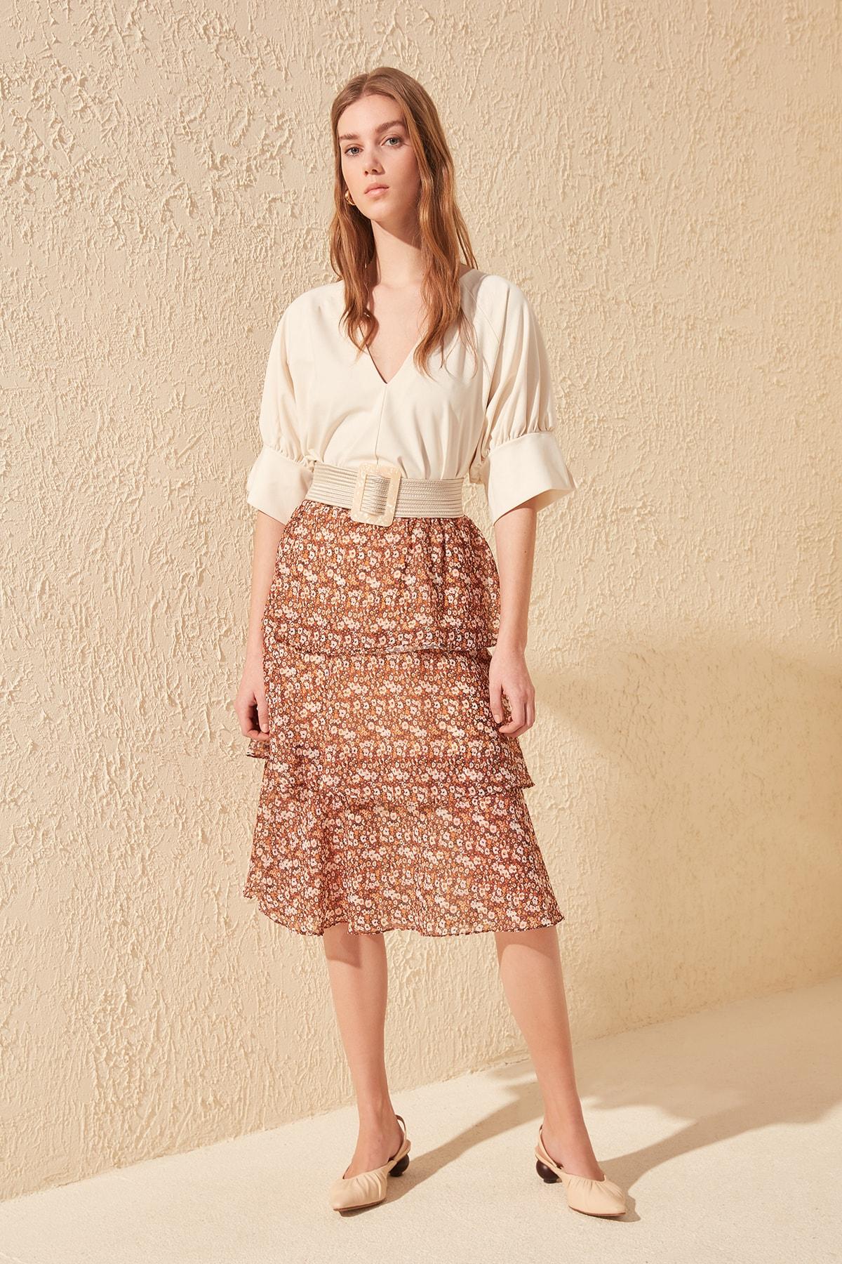 Trendyol Deseli Skirt TWOSS20ET0103