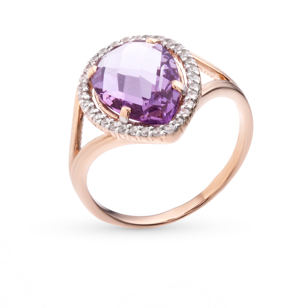 Gold Ring With Amethyst And Cubic Zirconia SUNLIGHT Test 585