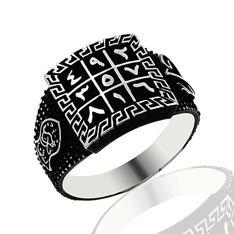 925 Silver Islamic Alphabet Printed Tribal Ring for Men(Turkey)