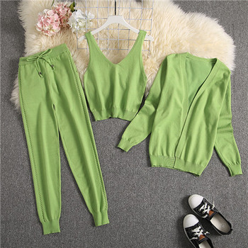 ALPHALMODA Spring Candy Color Knitted Cardigans + Camisole + Pants 3pcs Fashion Suit Women Seasonal Stylish Clothes Set 26