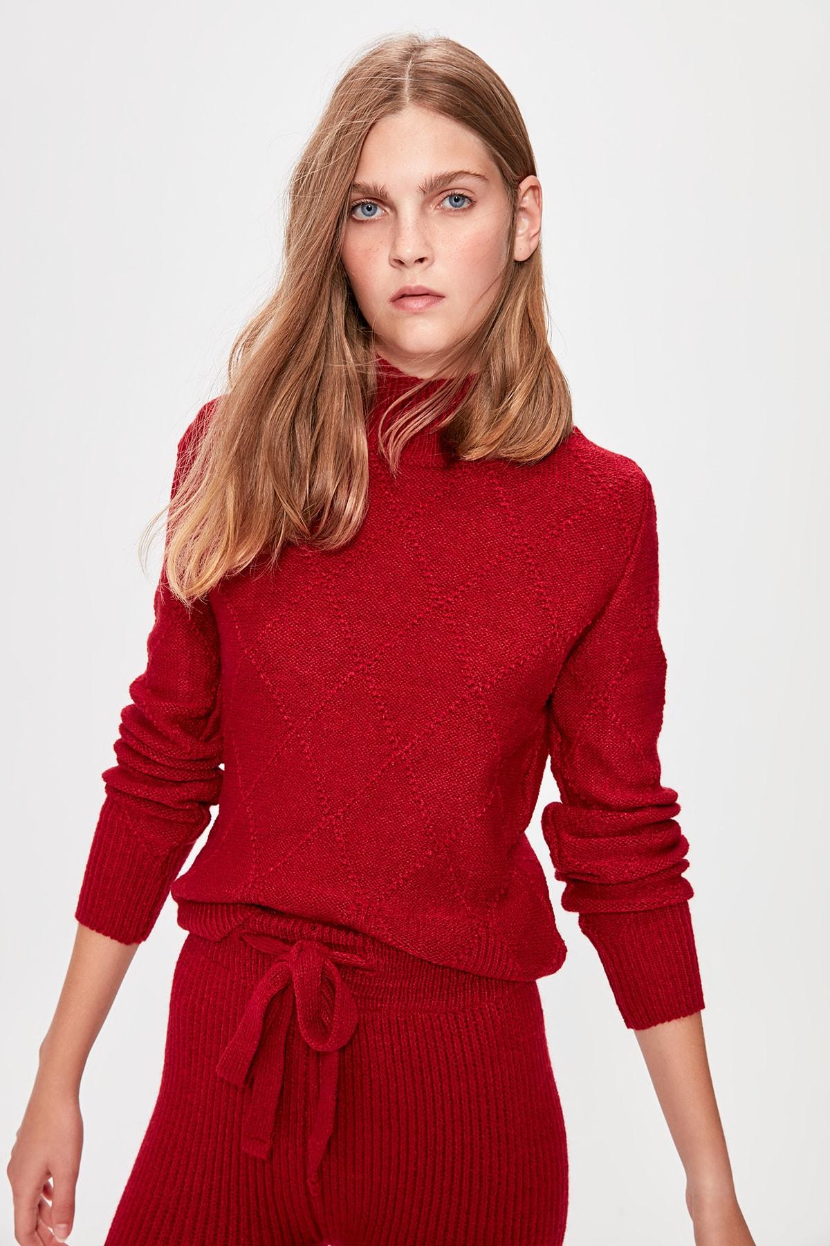 Trendyol Burgundy Weave Detailed Knitwear Sweater TWOAW20KZ0658