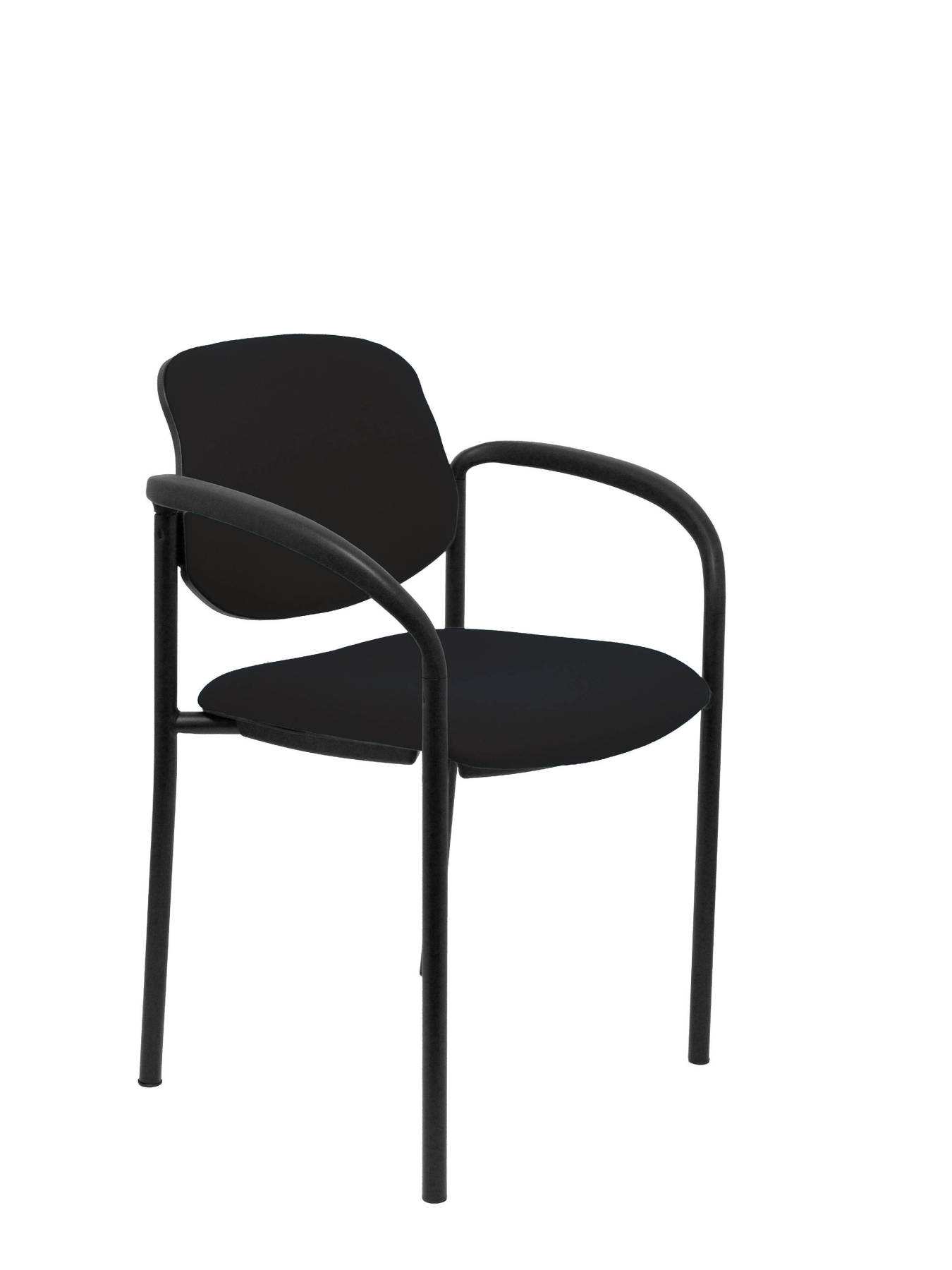 Visitor Chair 4's Topsy  with arms and Negro up seat and backstop structure upholstered in BALI tissue color black PIQ|Furniture Legs| |  - title=
