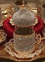 2x pessoa copo de café cristais e estilo de vidro da cor do ouro pode ser bebida com água do chá ou café  feito à mão coberto