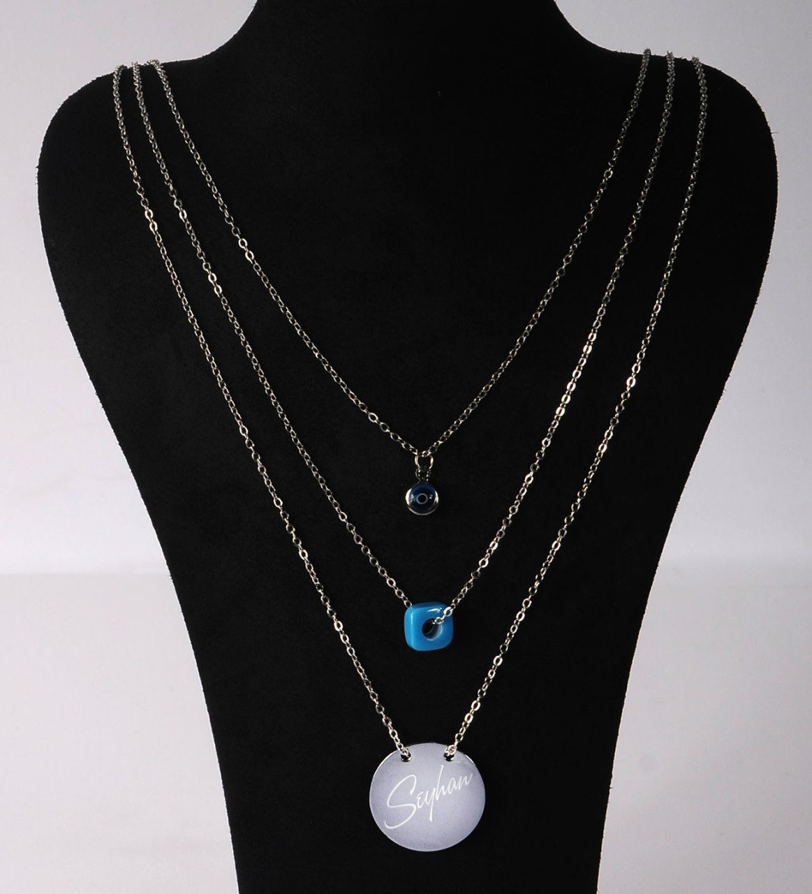 Personalized Is Three-Chained Round Evil Eye Beads Necklace