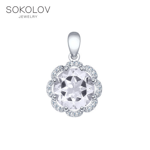 Pendant SOKOLOV Silver With Rock Crystal And Cubic Zirkonia Fashion Jewelry 925 Women's Male