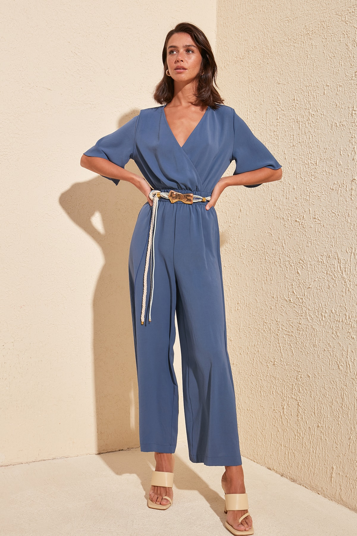 Trendyol Double Breasted Collar Jumpsuit TWOSS20TU0100