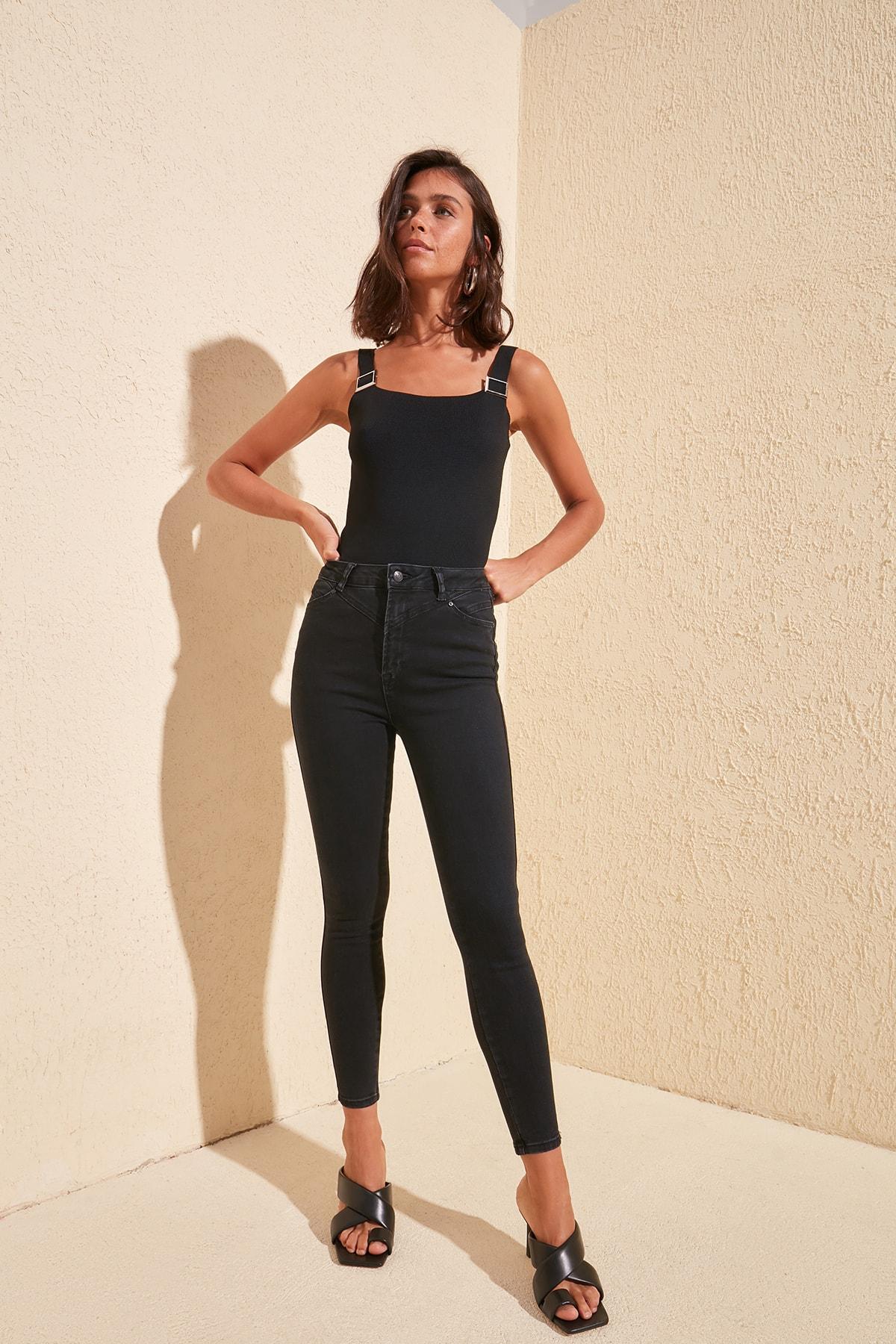 Trendyol Stitch Detail High Waist Skinny Jeans TWOSS20JE0255