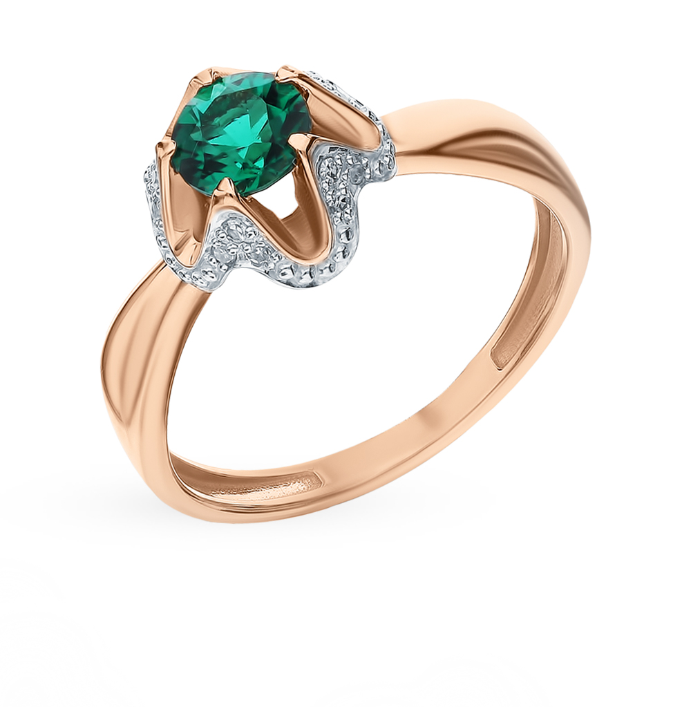 Gold Ring With Emerald And Diamonds Sunlight Sample 585