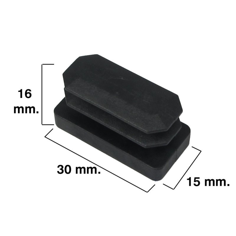 Cone Black Rectangular 15x30mm. Blister 4 PCs.