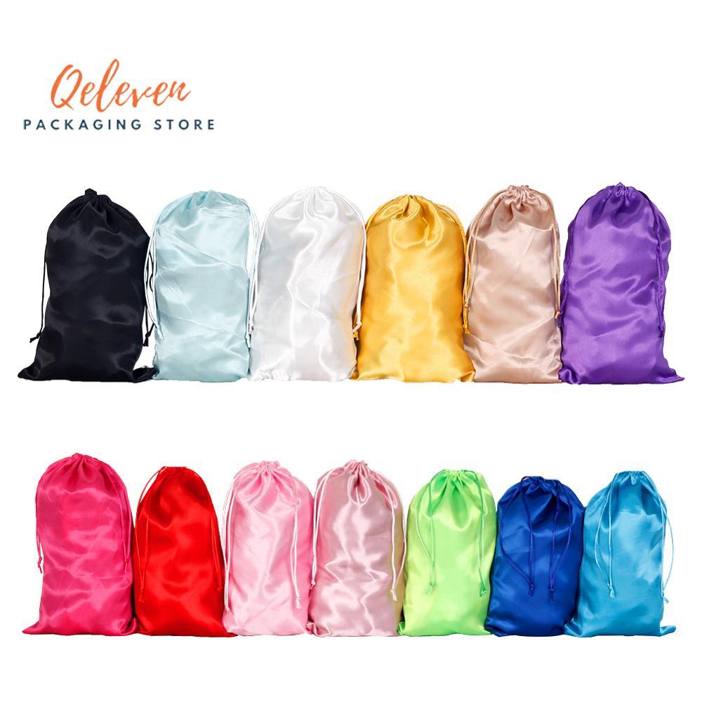 18x30cm Blank 13 Colors Light Pink,Pink,Hot Pink Virgin Hair Extension Packaging Satin Silk Bag Gift Hair Bundles Packing Bags