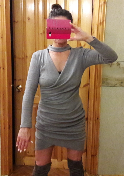 Simplee Sexy Halter V Neck Winter Sweater Dress Women Ruched Long Sleeve Black Bodycon Dress Female Chic Party Dress Autumn photo review