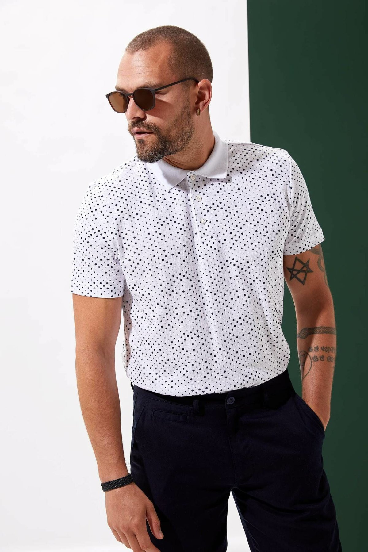 DeFacto Summer Light Color Fashion Leisure Mens Short-Sleeved Small Dot Pattern Polos Shirts Male Casual Lapel Polos-L5731AZ19AU-L5731AZ19AU