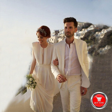 Beach Ivory Linen Men Suits For Wedding Suits Blazer Slim Fit Casual Groom Prom