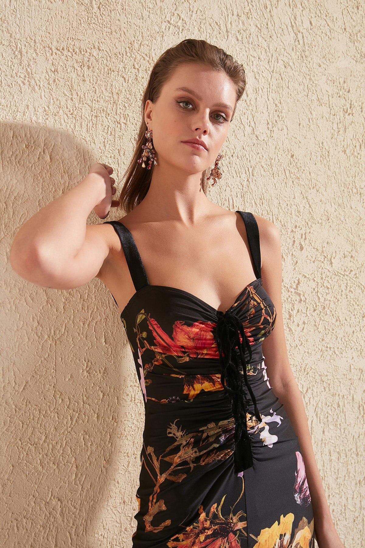 Trendyol Lacing Detailed Printed Dress TPRSS20EL0255