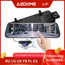 "AZDOME PG02 10 ""מראה דאש מצלמת הזרמת מדיה מלא מסך נגיעה ADAS כפולה עדשת ראיית לילה 1080p קדמי 720P גיבוי רכב DVR"