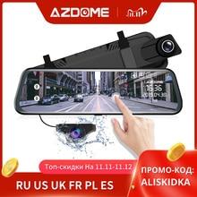 """Azdome pg02 10 """"espelho traço cam streaming de mídia de tela cheia tocando adas lente dupla visão noturna 1080p frente 720p carro de backup dvr"""