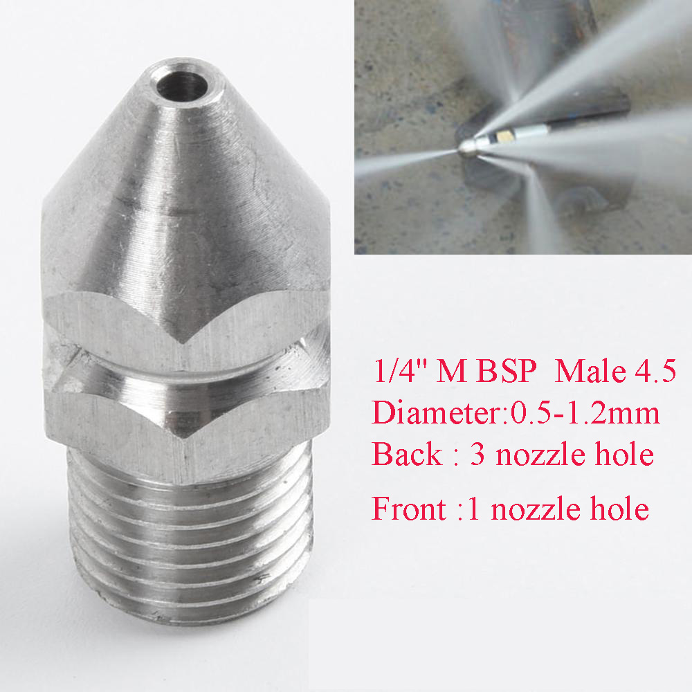 U18cd5749274649fa8b6655b1daac1a797 1/4'' 3/8 '' Cleaning Nozzle Pressure Washer Drain Sewer Cleaning Pipe Jetter Spray Nozzle 4 Jet Garden Accessories Tools