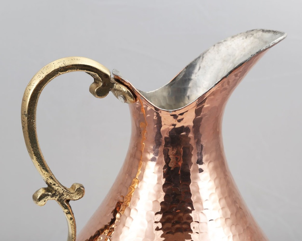 6- Premium Quality Copper Wine Pitcher Water Jug Wine Jug Pure Copper Pitcher Carafe Handmade , Hand Hammered Made in Turkey Drinkware 2 Lt (70 fl oz) Cristmas Gift Box Hand Carved Hand Crafted