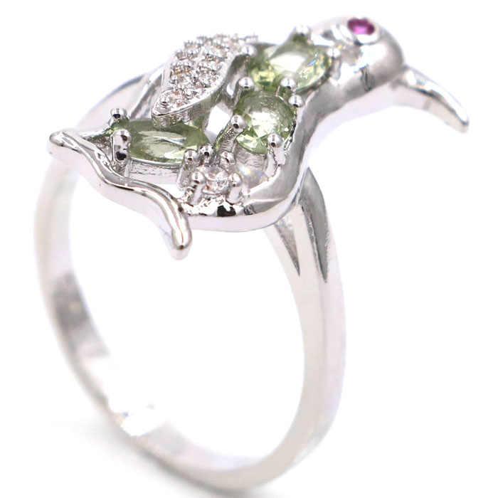 20x10 мм очаровательный Пингвин Зеленый Аметист, гранат Белый CZ подарок для Сестры Серебряные Кольца