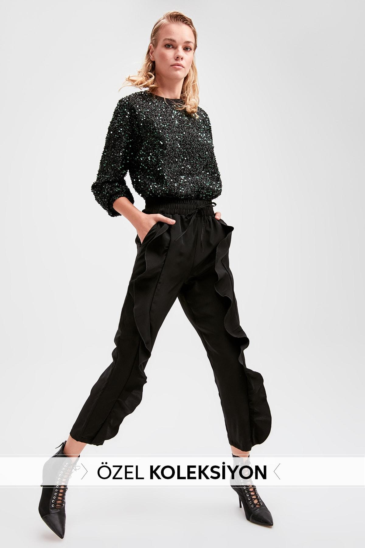 Trendyol Black Ruffle Detail Pants TWOAW20PL0405