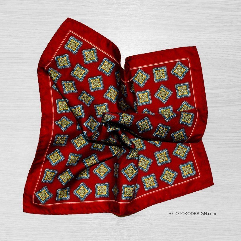 Silk Blazer Pocket Square Burgundy With Pattern (51842)
