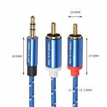 Audio Cable Divisor, 3,5mm Jack macho a 2RCA AUX Audio Cable Divisor, Cable de Audio Adaptador 1 m