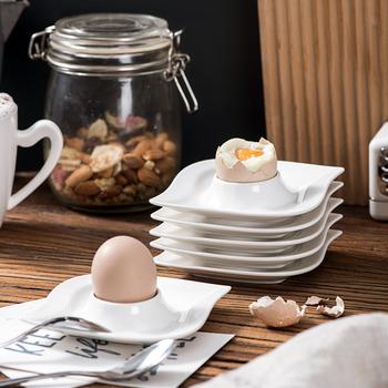 MALACASA Elvira 6-sztuka 4 #8222 jajko kubki uchwyt kości słoniowej biały porcelany chiny ceramiczne śniadanie stojak na jajka płyty (10 5*10 5*2 5 cm) tanie i dobre opinie CN (pochodzenie) Other ELVIRA-6ES Ekologiczne Narzędzia do jajek