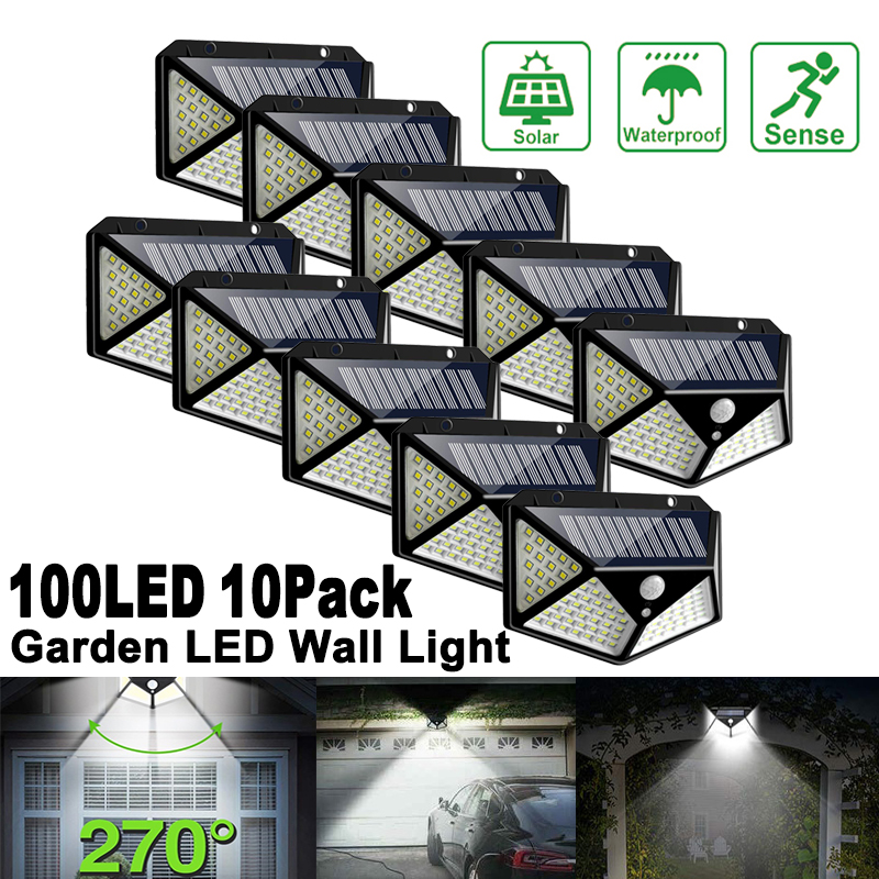 Luces LED solares para exteriores, focos 100LED impermeables con Sensor de movimiento, para jardín, calle, porche, patio