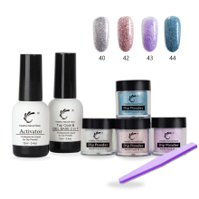 7 Pcs/Set Nail Dip Powder 12ml Top Base 2 in 1 Gel File Kit No Lamp Cure Acrylic System 10g Dipping Salon Decor Tool