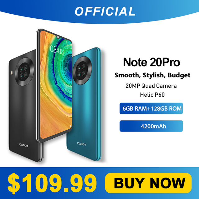 "Cubot Note 20 Pro Quad Camera Smartphone NFC 6GB/8GB+128GB 6.5"" 4200mAh Android 10 Dual SIM Telephone 4G LTE celular Note20 Pro 1"