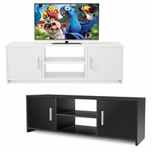 White Double Door TV Cabinet Television Stands Furniture Table Coffee Table Cabinet Storage Organizer TV Unit Bracket HWC
