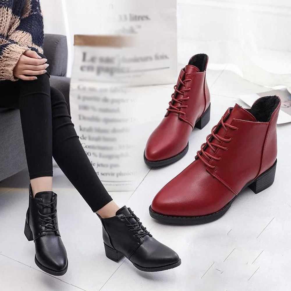 Botas de tacón cuadrado liso de PU para mujer botas de lana tejidas al tobillo para mujer botas de otoño e invierno de ocio para mujer