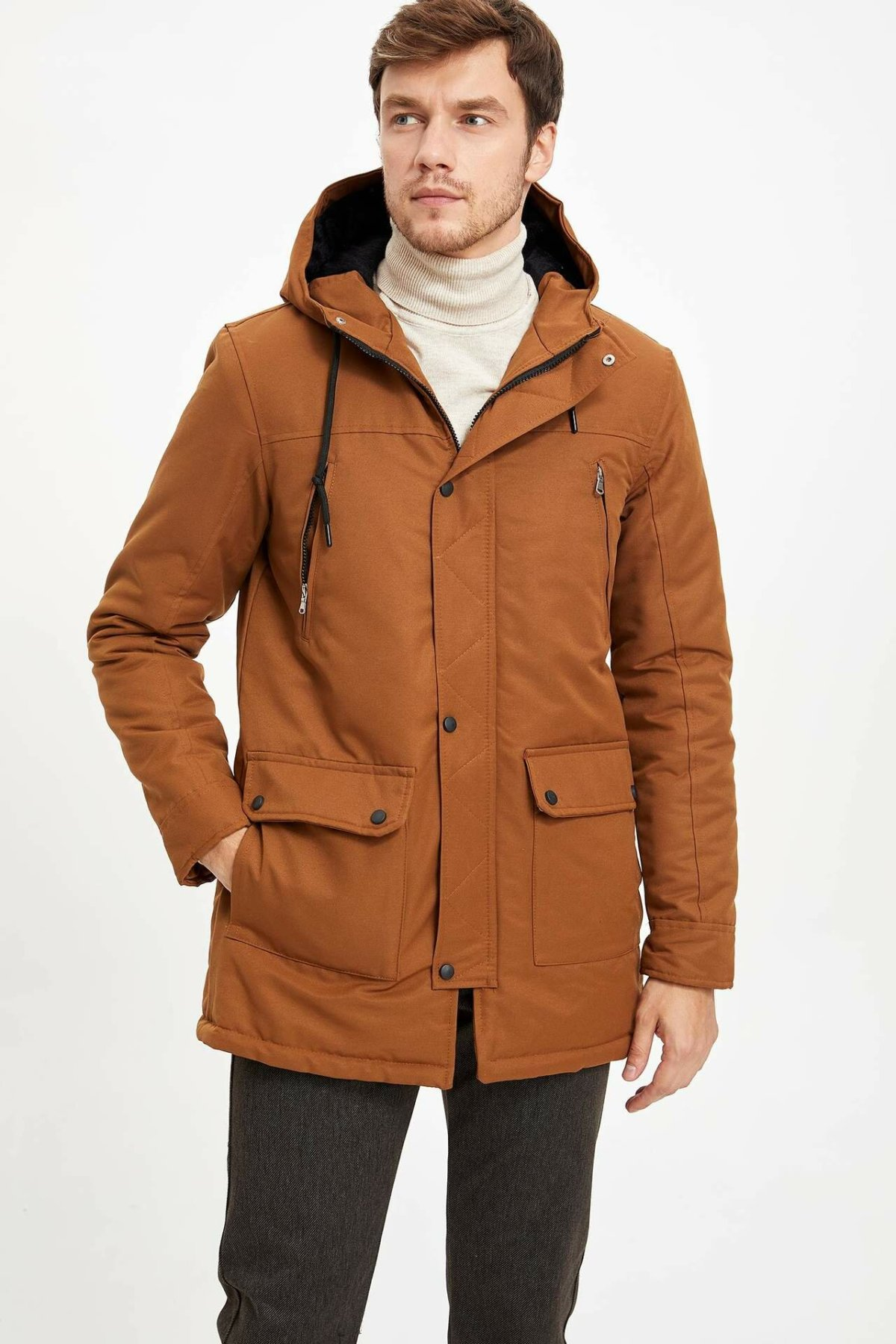 DeFacto Man Winter Thick Hooded Parka Men Solid Color Downcoats Long Coat/Male Warm Top Parka-M1003AZ19CW