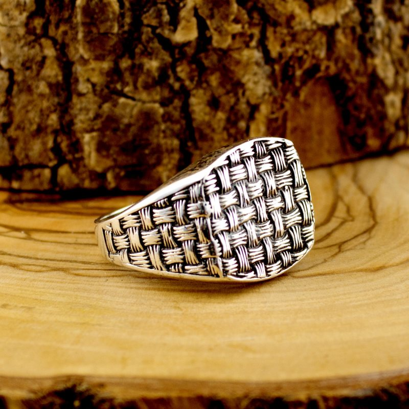 925 Sterling Silver Woven Texture Ring For Men