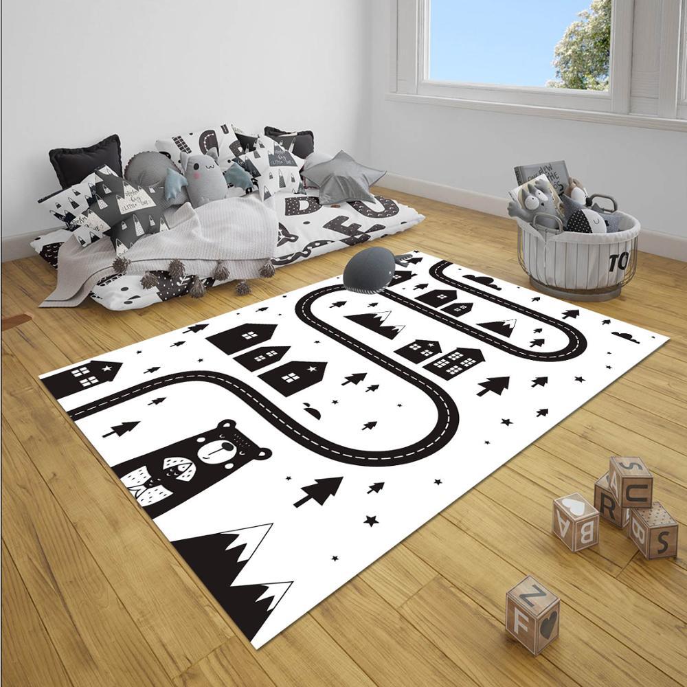 Else Black White Car Driving Road Game 3d Print Anti Slip Microfiber Children Kids Living Room Floor Carpet Decorative Rug Mat