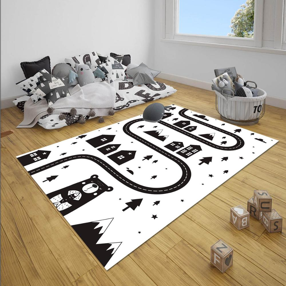 Else Black White Car Driving Traffic Road Game Boy 3d Print Anti Slip Microfiber Children Baby Kids Room Decorative Area Rug Mat