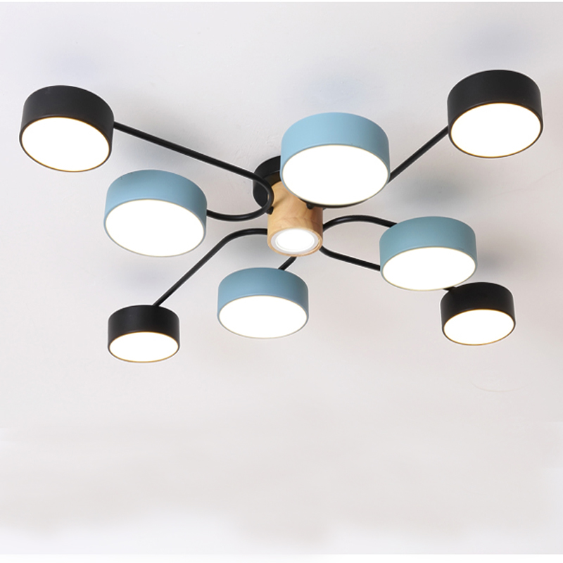 LED Ceiling Lamp Modern Nordic Minimalist 220V Lamp Black And Blue Wrought Iron Paint Lampshade Wooden Round Bedroom Living Room