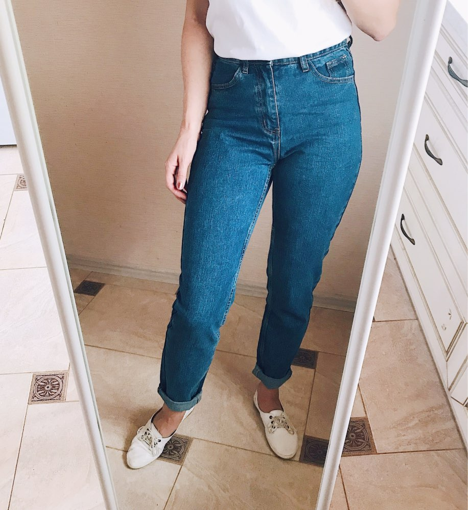 Jeans Soft Pants Harem Jeans Female Straight All Match Basic High Waist Jeans Femme Long Denim Pants For Women photo review