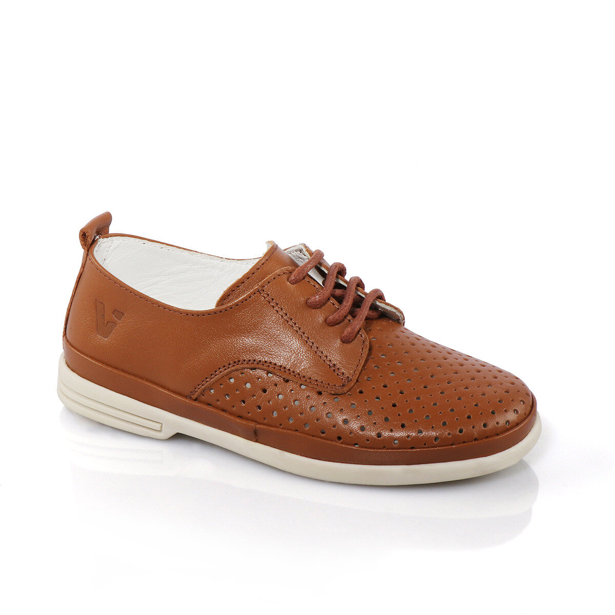 FLO 908.18Y.388 F LEATHER Tan Male Child Oxford Shoes VICCO